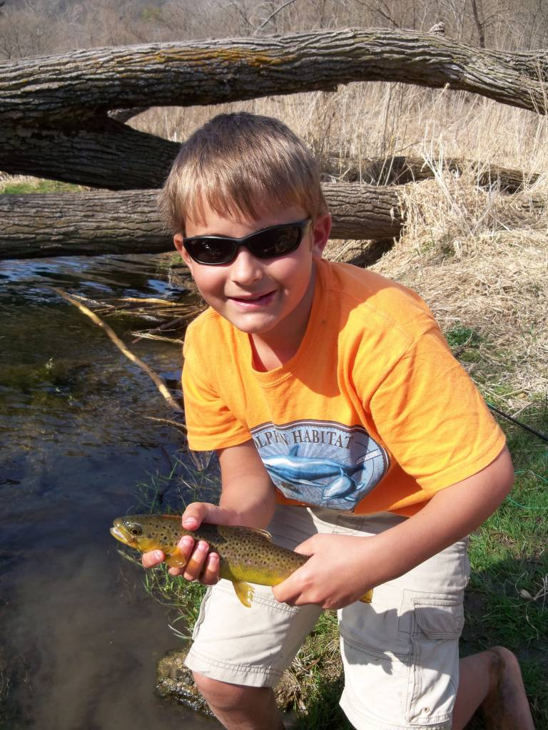 Noah with a nice brown trout