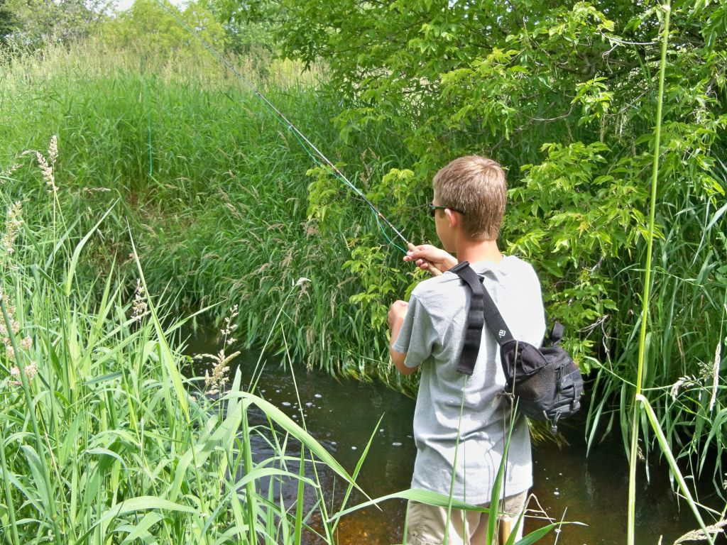 wet wading and fly fishing a small stream for brown trout