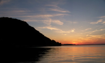 sunset on Lake Pepin in the Driftless Area