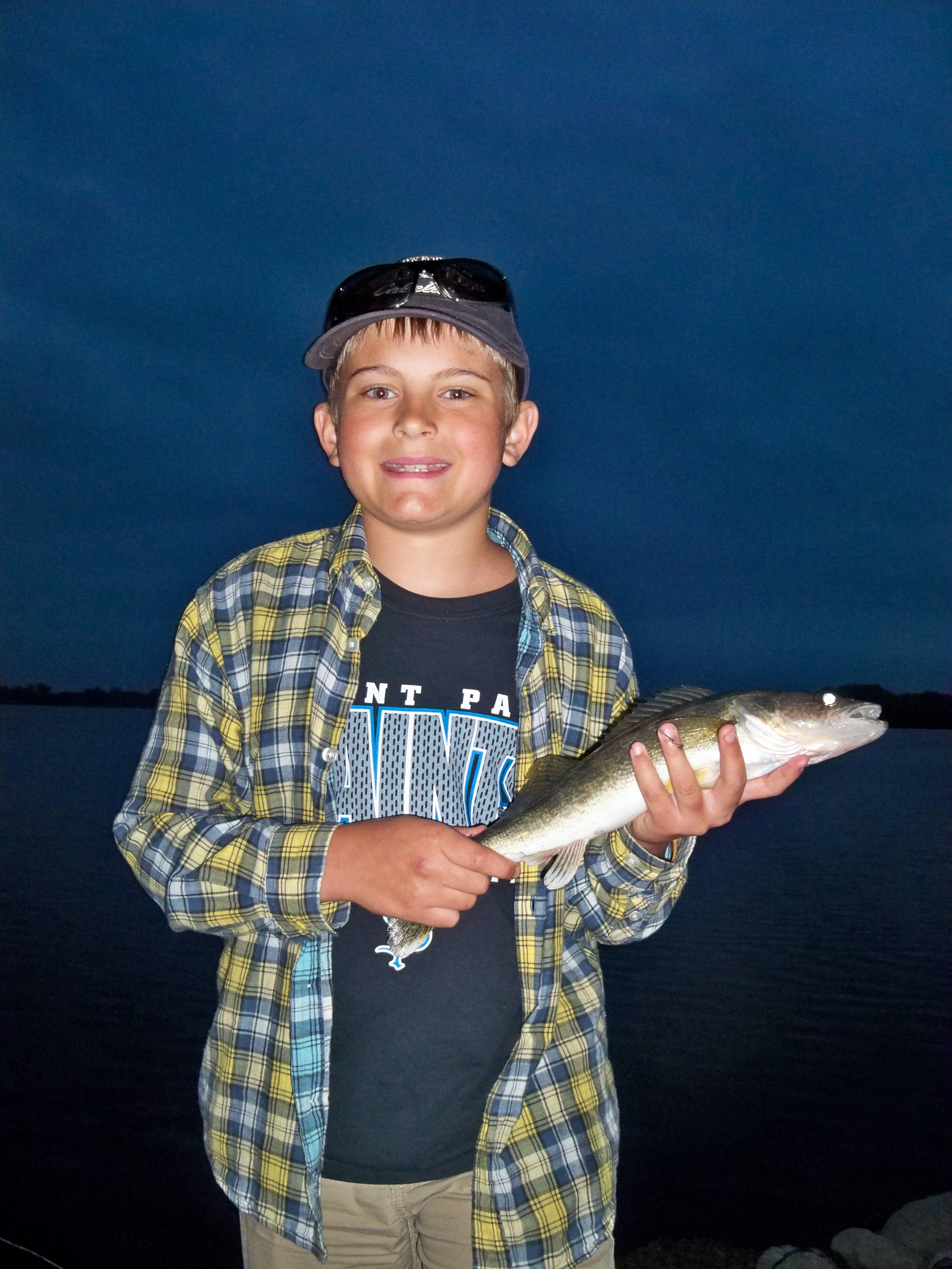 walleye after dark on a Minnesota lake tossing floating rapalas