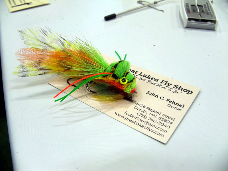 John Fehnel's signature frog. Great Lakes Fly Shop